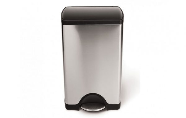 Simplehuman 38-Liter Rectangular Brushed Stainless Steel Step Trash Can with Black Plastic Lid List $109