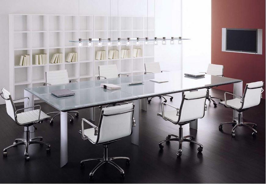 """Meeting table L240cm D120cm H72cm L94.48"""" D47.24"""" H47.24""""(white glass top, painted aluminum legs) $14,152.00"""