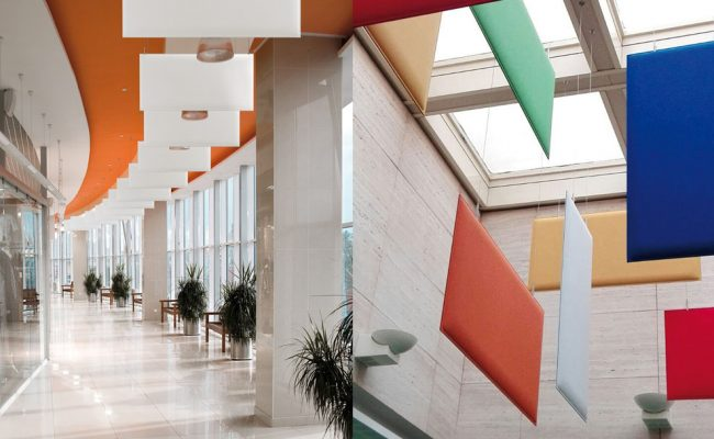 Hall of a modern business centre with set of glass show-windows